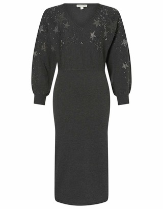 Monsoon Ladies Star Heat-Seal Gem Knit Dress with LENZING ECOVERO Charcoal