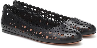 Alaia Laser-cut leather ballet flats