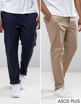 Asos Plus 2 Pack Slim Chinos In Stone & Navy Save
