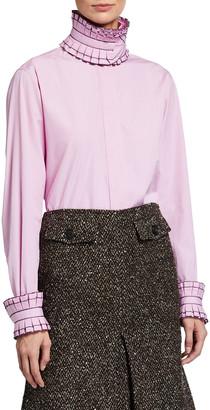 Victoria Beckham Oversized Ruffle-Collar Long-Sleeve Blouse