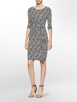 Calvin Klein Tribal 3/4 Sleeve Sheath Dress