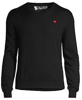 Comme des Garcons Men's Play V-Neck Cotton Sweater