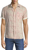 Billy Reid Martin Short-Sleeve Swirl-Print Linen Shirt