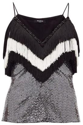 Balmain Fringed Sequinned Top - Black White