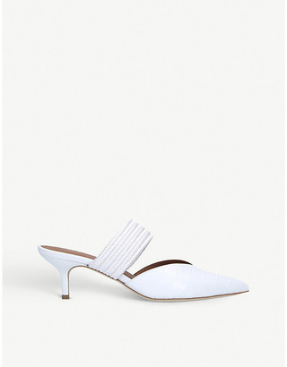 Malone Souliers Maisie 45 cord-trimmed leather heeled mules