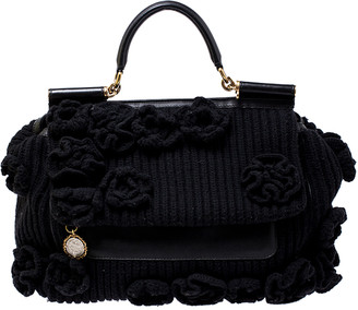 Dolce & Gabbana Black Wool and Leather XL Miss Sicily Top Handle Bag