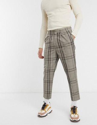 ASOS DESIGN tapered crop smart pants in stone check