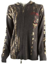 Ed Hardy Mens Rhinestone Fire Snake Sweater -Grey