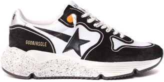 Golden Goose Black & White Running Sole Suede & Fabric Sneaker