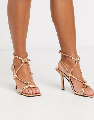 Public Desire Priya square toe knotted block heeled sandal in gold