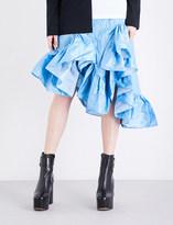 Marques Almeida Asymmetric ruffled tafetta midi skirt