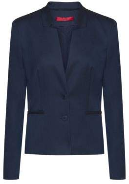 HUGO Stand-collar jacket in stretch fabric with piped pockets