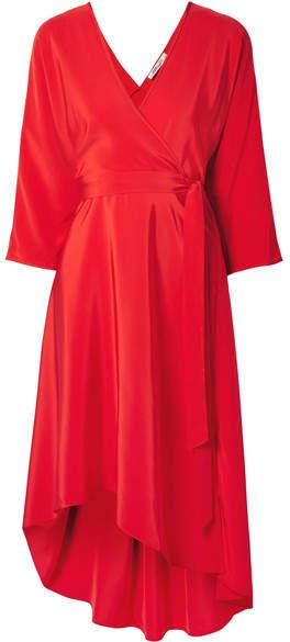Diane von Furstenberg Asymmetric Silk-satin Wrap Dress - Red