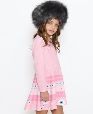 Lanoosh Toddler Girls Fit and Flare Long Sleeve Dress with A Round Neck Magic Eye Engineer Print