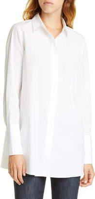 Nordstrom Signature White Cotton Button-Up Blouse