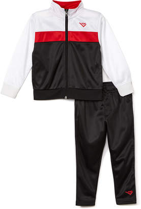 Pony Boys' Non-Denim Casual Jackets MIDNIGHT - Black & White Color Block Logo Track Jacket & Logo Active Pants - Toddler & Boys