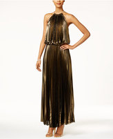 MSK Pleated Metallic Blouson Halter Dress