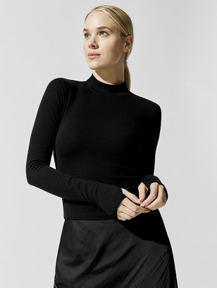 Carbon38 Mock Neck Ribbed Top