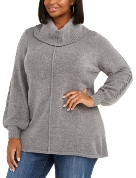Belldini Plus Size Metallic Cowlneck Tunic Sweater