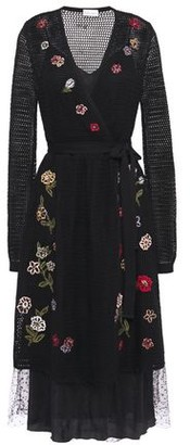 RED Valentino Wrap-effect Embroidered Open-knit Wool Midi Dress