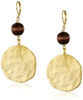 Kenneth Jay Lane Satin Gold Coin with Wood Bead Wire Drop Earrings