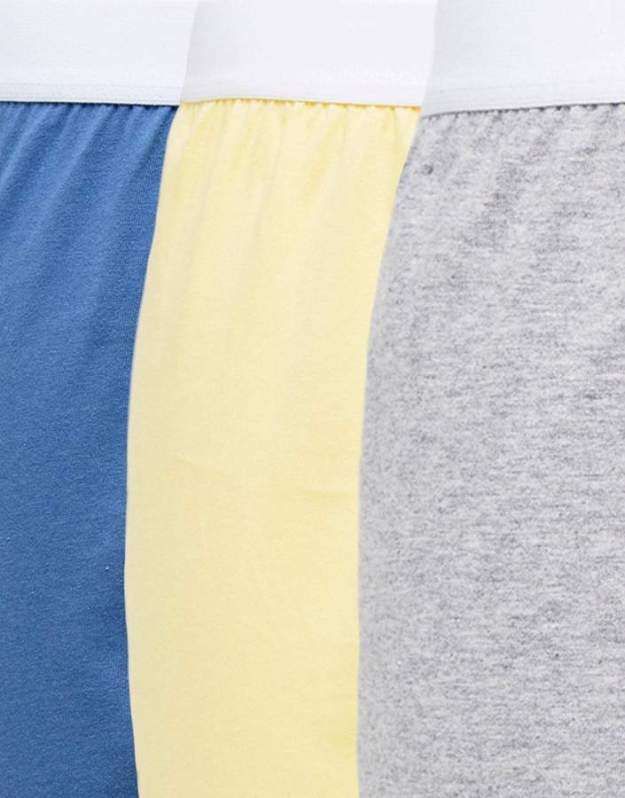 Asos Jersey Boxer In Yellow Blue & Grey 3 Pack Save
