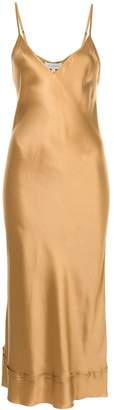 Lee Mathews Rose silk satin v-neck slip dress