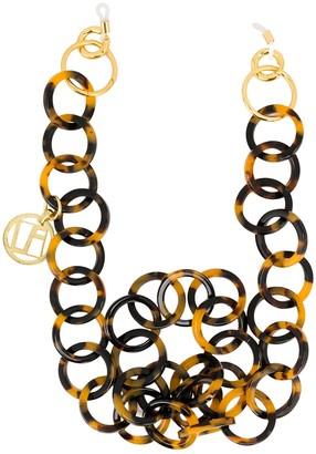 Linda Farrow Tortoiseshell Hoop Chain Necklace