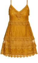 City Chic Nouveau Lace Dress - gold
