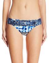 Kenneth Cole Reaction Women's Indigo Go Girl Aztec Ruched Tab-Side Hipster Bikini Bottom