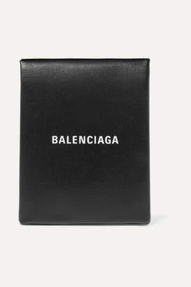 Balenciaga Shopping Envelope Printed Textured-leather Clutch - Black