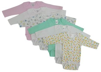 Bambini Long Sleeve Variety Printed Bodysuits, 6pk (Baby Girls)