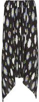 Kenzo Floral-print Plissé-georgette Skirt - Black
