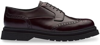 Prada Brushed Leather Laced Derby Shoes