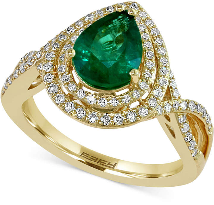 Effy Brasilica by Emerald (1-1/6 ct. t.w.) and Diamond (3/8 ct. t.w.) Ring in 14k Gold, Created for Macy's