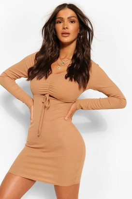 boohoo Drawstring Ruched Detail Bodycon Rib Dress