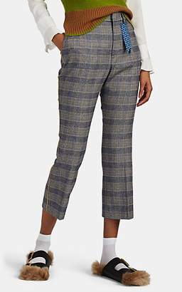 THE GIGI Women's Sonia Pipe-Trimmed Checked Trousers - Blue