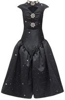 Christopher Kane Embellished Star-print Cutout Satin Dress - Womens - Black