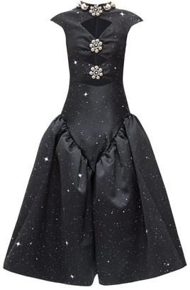 Christopher Kane Embellished Star-print Cutout Satin Dress - Black