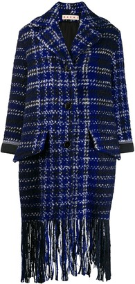 Marni Plaid Fringed Coat