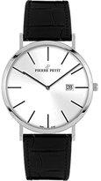 Pierre Petit Men's P-787B Serie Nizza Silver Dial Black Genuine Leather Date Watch