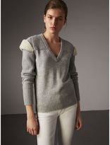 Burberry Shearling Trim Ribbed Wool Cashmere Sweater, Grey