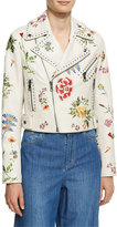 Alice + Olivia Cody Embroidered Studded Leather Jacket, Off White Multi