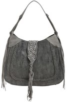 Sole Society 'Vail' Braided Trim Faux Suede Shoulder Bag - Black