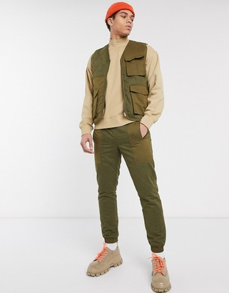 ASOS DESIGN co-ord quilted vest in khaki