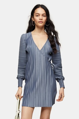 Topshop Womens Blue Plisse Shirred Mini Wrap Dress - Blue