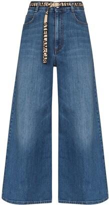 Stella McCartney Wide-Leg Logo Belted Jeans