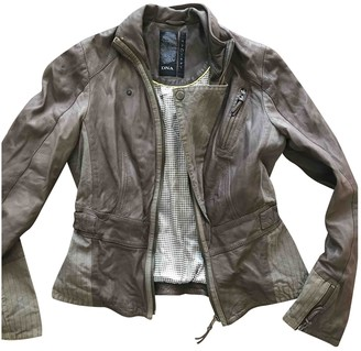 Dna Brown Leather Coat for Women
