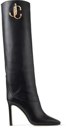 Jimmy Choo MAHESA 100 Black Calf Leather Knee High Boots with JC Emblem