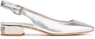 Moschino Metallic Textured-leather Slingback Pumps